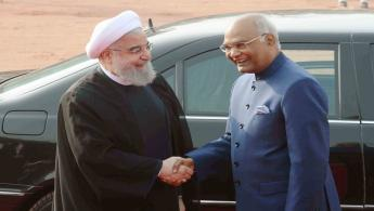 The President of India, Shri Ram Nath Kovind receiving the President of the Islamic Republic of Iran, H.E. Dr. Hassan Rouhani during his Ceremonial Reception at Forecourt in Rashtrapati Bhavan on February 17, 2018.