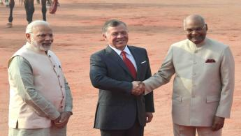 The President of India, Shri Ram Nath Kovind receiving the King of the Hashemite Kingdom of Jordan, His Majesty King Abdullah II Ibn Al-Hussein during his Ceremonial Reception at Forecourt in Rashtrapati Bhavan on March 1, 2018.