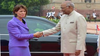 The President of India, Shri Ram Nath Kovind receiving the President of the Swiss Confederation, H.E. Mrs. Doris Leuthard during her Ceremonial Reception at Forecourt in Rashtrapati Bhavan on August 31, 2017.