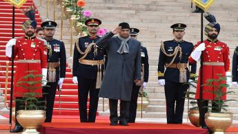 The President of India, Shri Ram Nath Kovind taking the Salute from President's Body Guard (PBG) at the Forecourt of Rashtrapati Bhavan during the departure for witnessing the 'Beating Retreat' at Vijay Chowk in New Delhi on January 29, 2019.