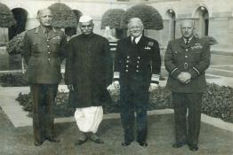 President Dr. Rajendra Prasad with Chiefs of the Services at Mughal Gardens, Rashtrapati Bhavan