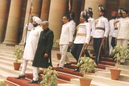 President elect Shri R. Venkataraman with President Gaini Zail Singh proceeding to Parliament House to attend the Swearing-in-Ceremony