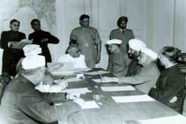 C. Rajagopalachari administering Oath of Office to Shri Sinha at the Swearing-in-Ceremony, Government House, New Delhi