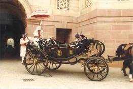 President R. Venkataraman leaving North Court of Rashtrapati Bhavan in the State Coach to inspect the Guard of Honour
