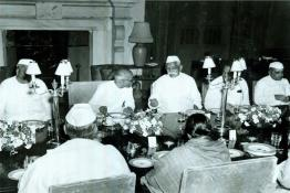 C. Rajagopalachari hosting dinner for  Members of the Provisional Council, New Delhi