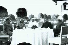 C. Rajagopalachari hosting tea for  prominent citizens at Mughal Gardens, Government House