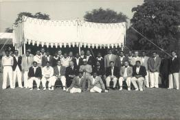 President Dr. Prasad at the Annual Cricket Match between the President's Estate Cricket club and U.K. High Commissioner's XI on the President's Estate Ground