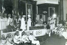 Dr. Rajendra Prasad greeting Dr. S. Radhakrishnan after the swearing in ceremony