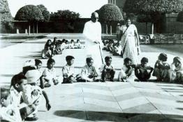 C. Rajagopalachari with the children of the Governor General Estate School at Mughal Gardens, Government House, New Delhi