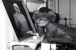 President Shri Fakhruddin Ali Ahmed signing a painting made by Captain Arul Raj