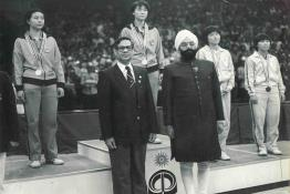 President Gaini Zail Singh presenting Asian Games medals to winners