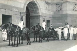 H.E. the Maharaja of Bharatpur photographed with President Dr. Prasad after he presented a Coach to Rashtrapati Bhavan to Rashtrapati Bhavan