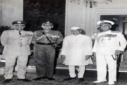 President Shri Fakhruddin Ali Ahmed receiving greetings from the three Service Chiefs