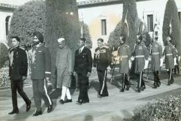 President Dr. Rajendra Prasad arriving for the 'At Home' at Mughal Gardens, Rashtrapati Bhavan