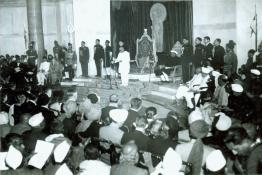 Shri C. Rajagopalachari delivering farewell address after the Swearing-in Ceremony of Dr. Rajendra Prasad