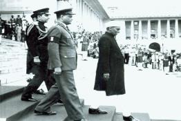Dr. Rajendra Prasad proceeding to inspect a Guard of Honour at  the Government House Forecourt
