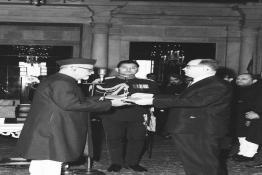 Dr. Peter Kos, Ambassador of the Hungarian People's Republic presenting his Letter of Credence to the President Dr. Zakir Husain, at Rashtrapati Bhavan.