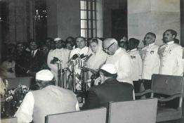 Swearing in ceremony of Mrs Indira Gandhi and her Cabinet