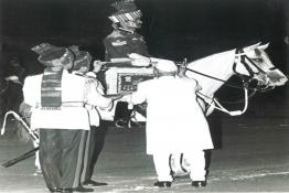 Presidet Dr.  Shankar Dayal Sharma presenting Trumpet and Banner to the President's Bodyguard