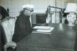 President Dr. Rajendra Prasad recording the Republic Day broadcast message