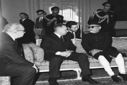 President Dr. Zakir Husain meeting with H.E. Mr. A.N. Kosygin, Chairman of the Council of Ministers, USSR, at Rashtrapati Bhavan.