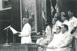 President R. Venkataraman addressing the Members of Parliament on the occasion of 40th Anniversary of India's Independence at the Central Hall, Parliament House