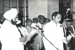 President Gaini Zail Singh at the swearing in Cerempny of Rajiv Gandhi as the Prime Minister of India