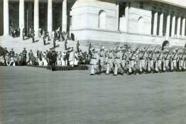 President Dr. Rajendra Prasad taking salute at the Rashtrapati Bhavan Forecourt