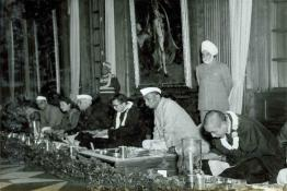 President Dr. Rajendra Prasad having Lunch with H.H. the Dalai Lama and H.H. the Panchen Lama