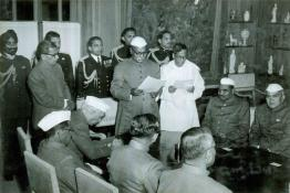 President Dr. Rajendra Prasad administrating the oath of Office to Shri A.C. Guha