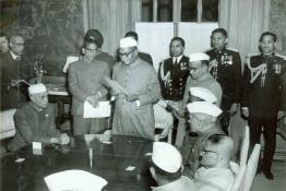 President Dr. Rajendra Prasad administrating the oath of Office to Shri K.D. Malaviya