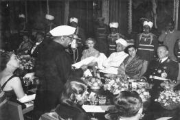President Dr. Rajendra Prasad giving a speech at the State Banquet in honour of Marshal Tito, Rashtrapati Bhavan