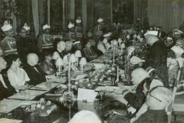 President Dr. Rajendra Prasad speaking at the State Banquet held in honour of the President of the U.S.A.,  Dwight D. Eisenhower