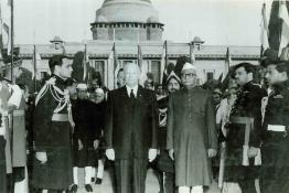 President Dr. Prasad and President Eisenhower photographed at the At-Home event, Mughal Gardens, Rashtrapati Bhavan