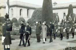 President Dr. Rajendra Prasad arriving in procession to attend a reception at the Mughal Gardens, Rashtrapati Bhavan