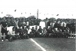 President Dr Radhakrishnan with the players at the Durand Football Tournament