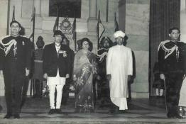 The King and Queen of Nepal with President Dr. Radhakrishnan at Ashok Hall, before the State Banquet