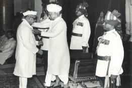 Dr. Zakir Husain receiving the Bharat Ratna award by President Dr. Radhakrishnan
