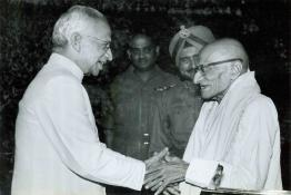 President Dr. Radhakrishnan receiving Shri C. Rajagopalachari on his arrival at Rashtrapati Bhavan