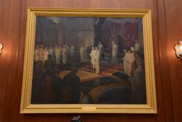 Painting showcasing Pandit Jawaharlal Nehru taking oath as Prime Minister of Independent India