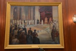 Painting showcasing Swearing In Ceremony of Shri C. Rajagopalachari as First Indian Governor General