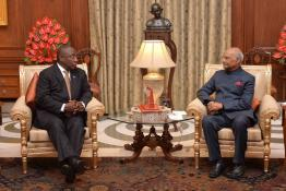 The President of the Republic of South Africa, H.E. Mr. Matamela Cyril Ramaphosa calling on the President of India, Shri Ram Nath Kovind at Rashtrapati Bhavan on January 25, 2019.