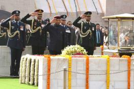 The President of India, Shri Ram Nath Kovind paying homage at the Samadhi of the Father of the Nation, Mahatma Gandhi at Raj Ghat in New Delhi on January 30, 2019 on the occasion of his 71st Death Anniversary.